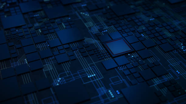 3d render of a macro view of a futuristic electronic circuit board with microchips and processors. technology background concept. - scheda a circuito foto e immagini stock