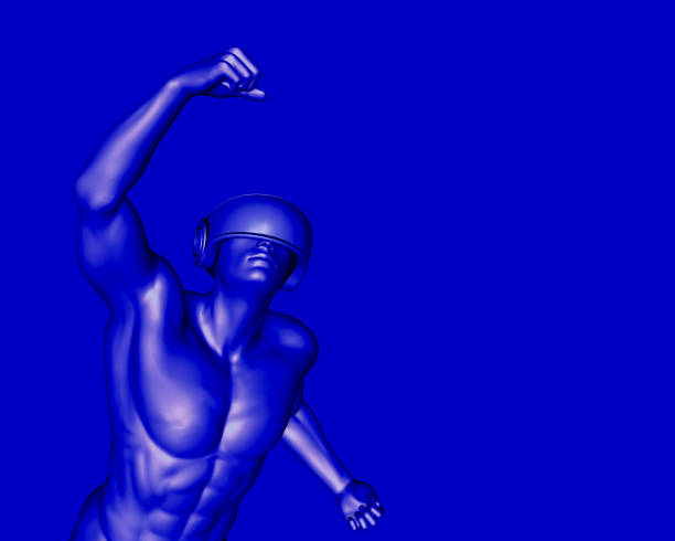 3D render of a male cyborg wearing virtual reality headset. stock photo