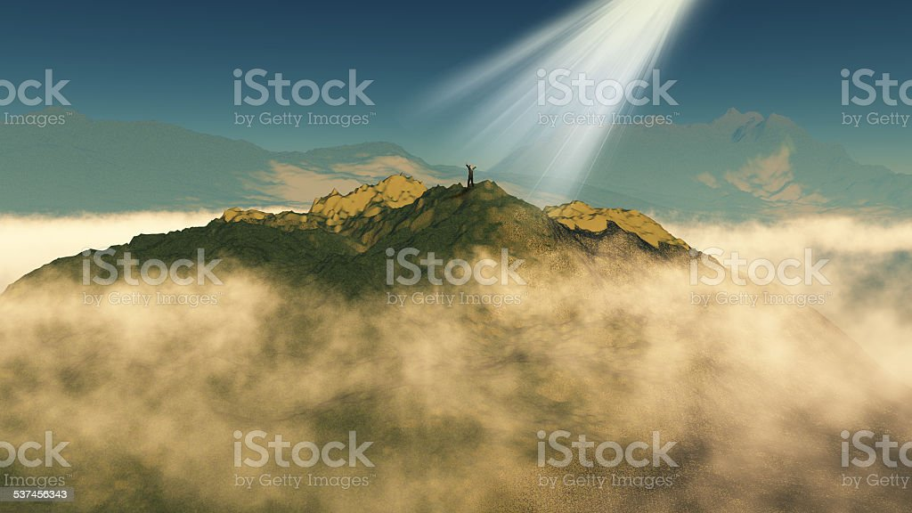 3D render of a male figure stood atop a mountain stock photo