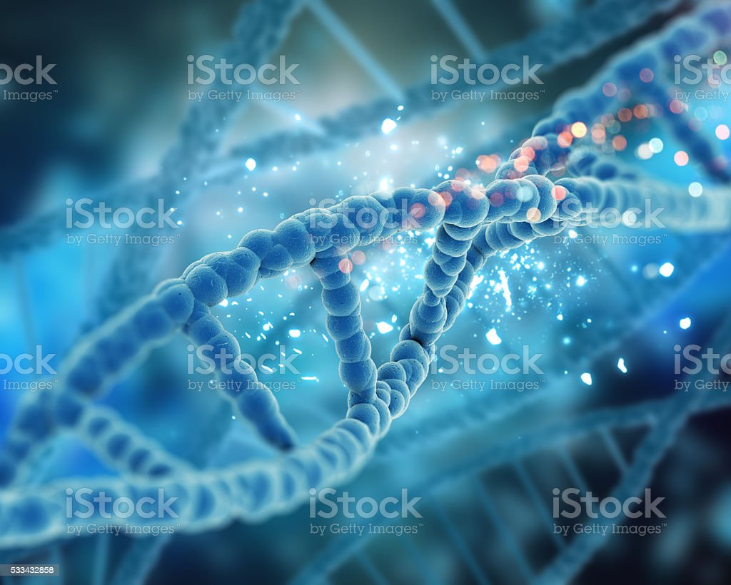 3D render of a medical DNA background stock photo