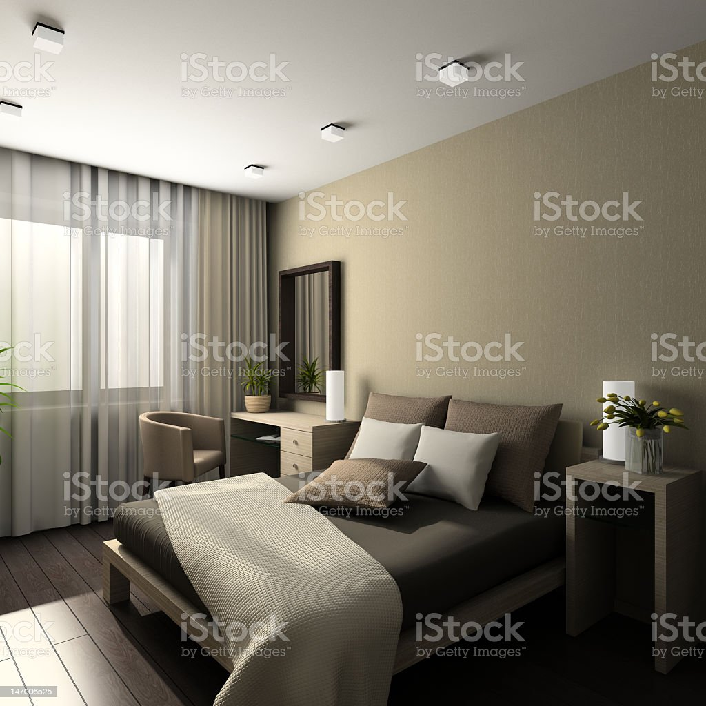 A 3D render of a modern beige interior royalty-free stock photo