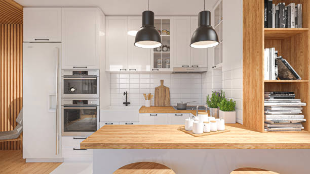 Render of a modern domestic kitchen stock photo