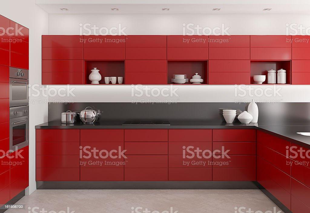 3D render of a modern red kitchen royalty-free stock photo