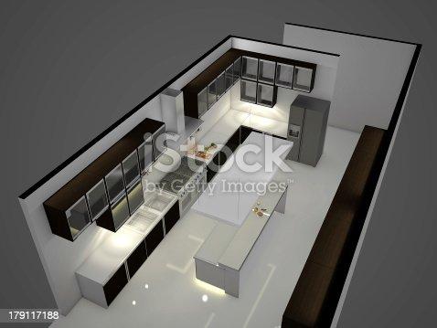 istock 3D Render of a Modern White Kitchen Interior 179117188