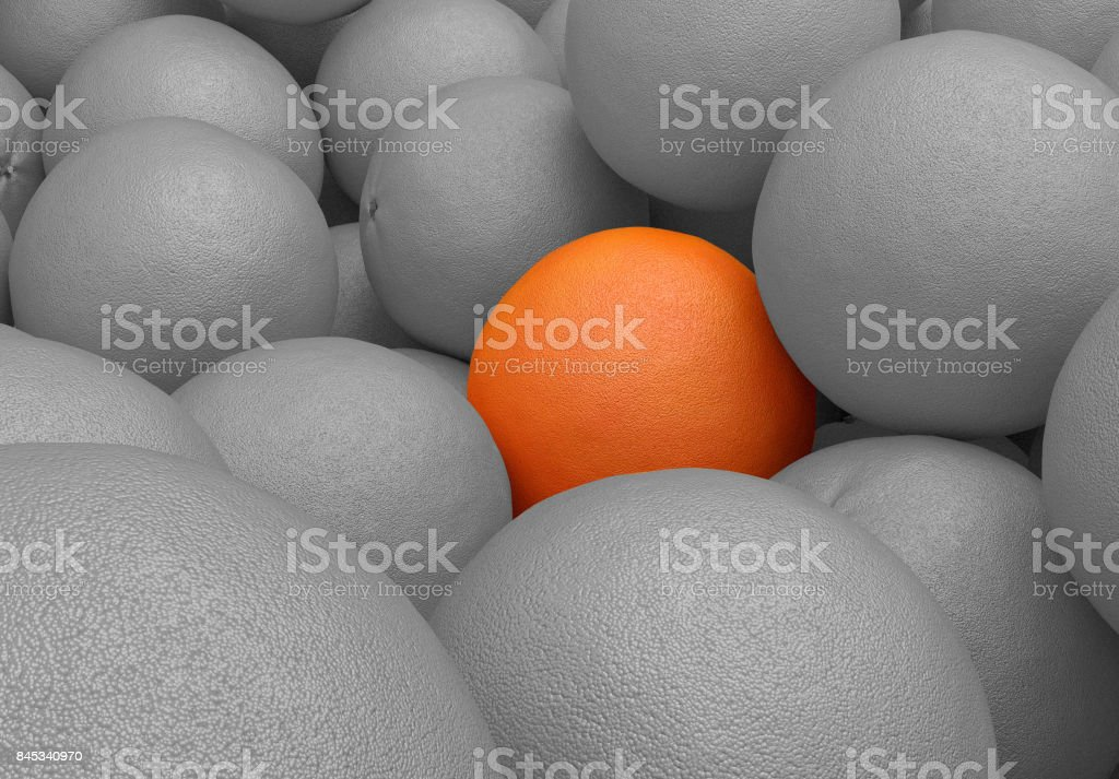 3D render of a pile of orange fruits stock photo