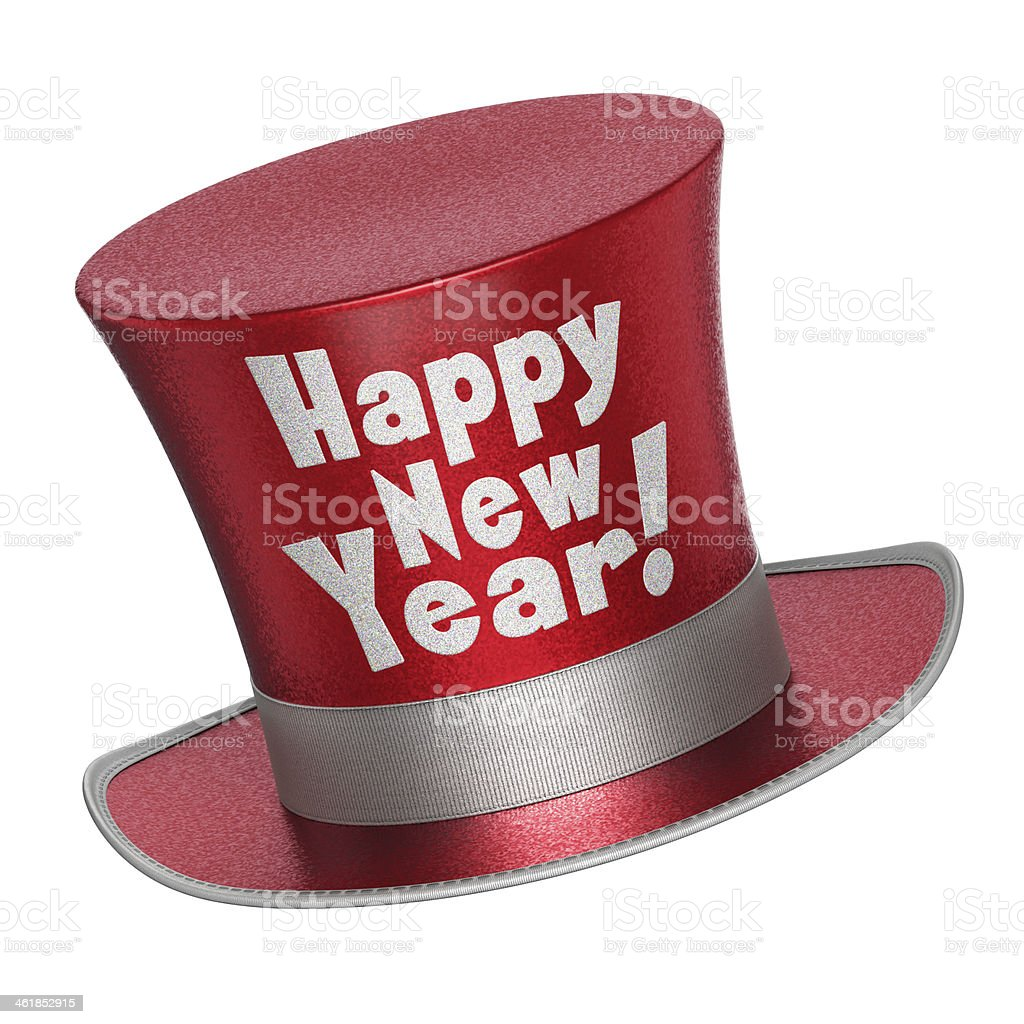 3D render of a red Happy New Year top hat stock photo