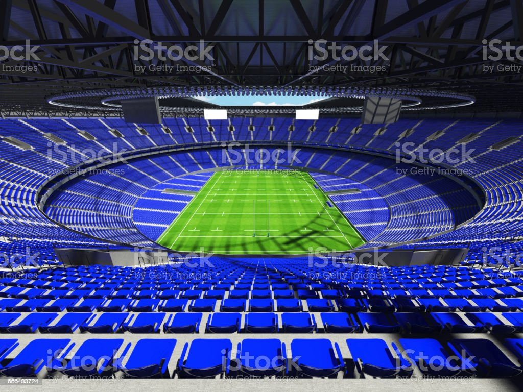 3D render of a round rugby stadium with blue seats and VIP boxes for...