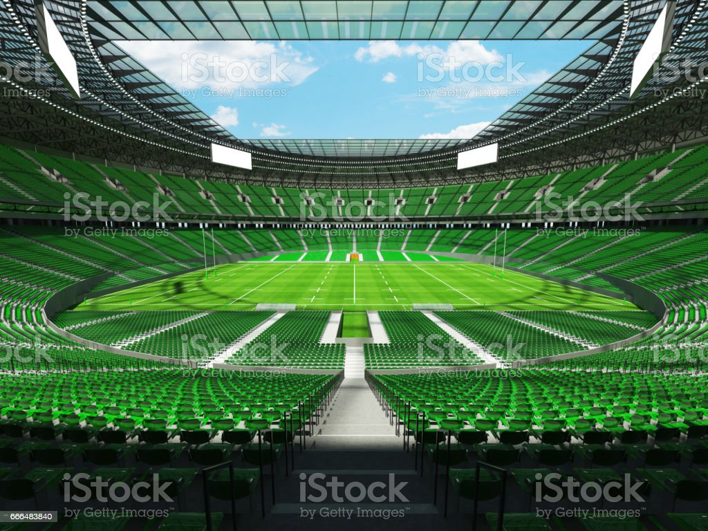 3D render of a round rugby stadium with green seats and VIP boxes for...