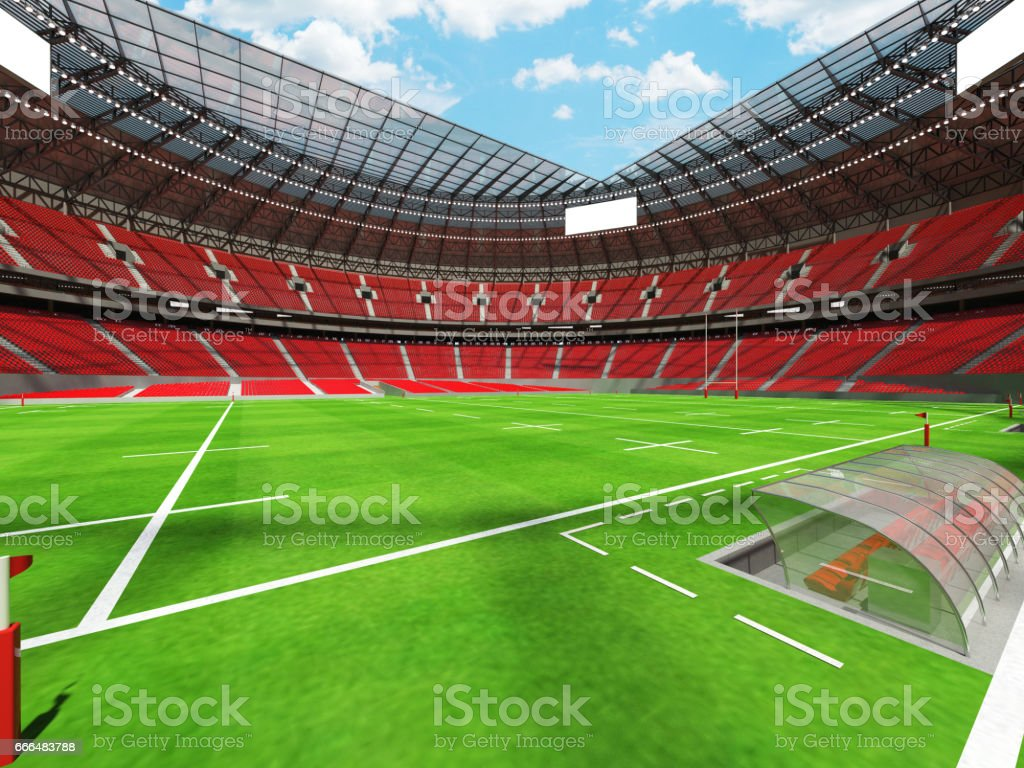 3D render of a round rugby stadium with red seats and VIP boxes for...