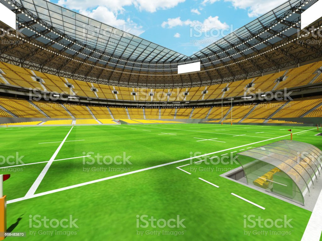 3D render of a round rugby stadium with yellow seats and VIP boxes...