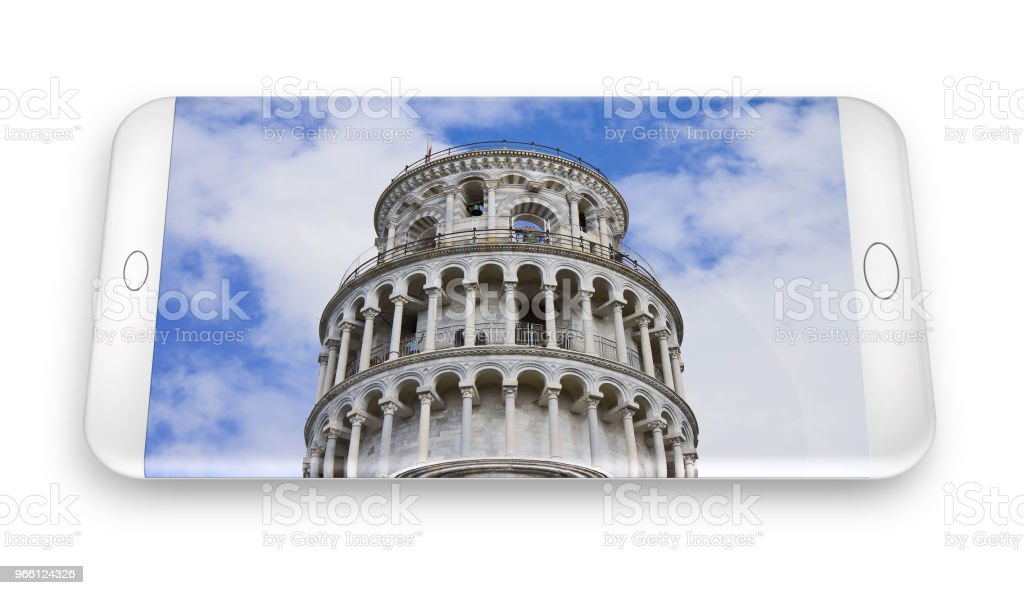 3D renderen van een smartphone met de beroemde scheve toren (Italië - Pisa) - Royalty-free Architectuur Stockfoto