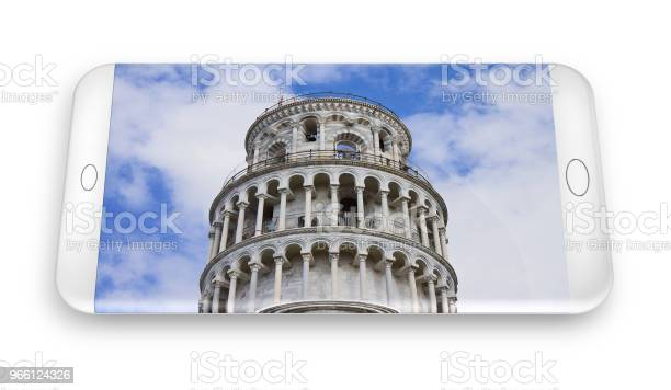 3d Renderen Van Een Smartphone Met De Beroemde Scheve Toren Stockfoto en meer beelden van Architectuur