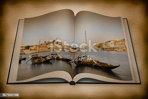 3D render of a typical portuguese boats used in the past to transport the famous port wine - Vintage and Retro Photo Effects added  - I'm the copyright owner of the images used in this 3D render