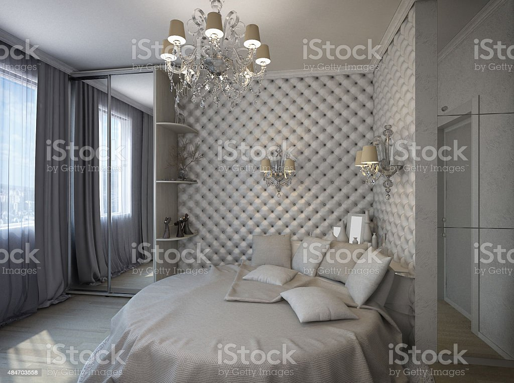 3D render of a white bedroom in classical style stock photo