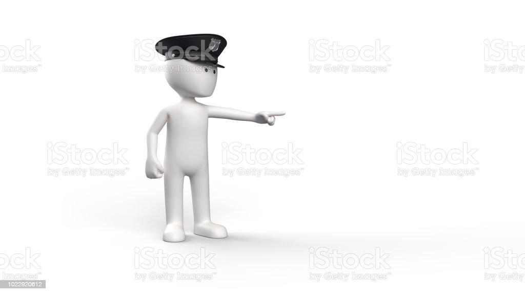 3D renderen van een witte karakter met een politie-hoed foto