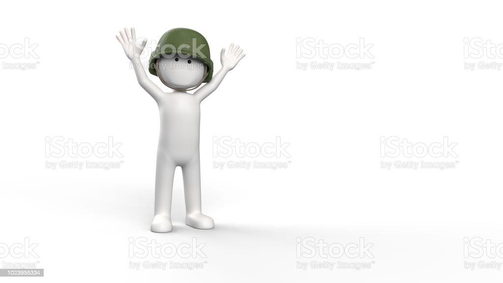 3D renderen van een witte karakter met leger helm foto