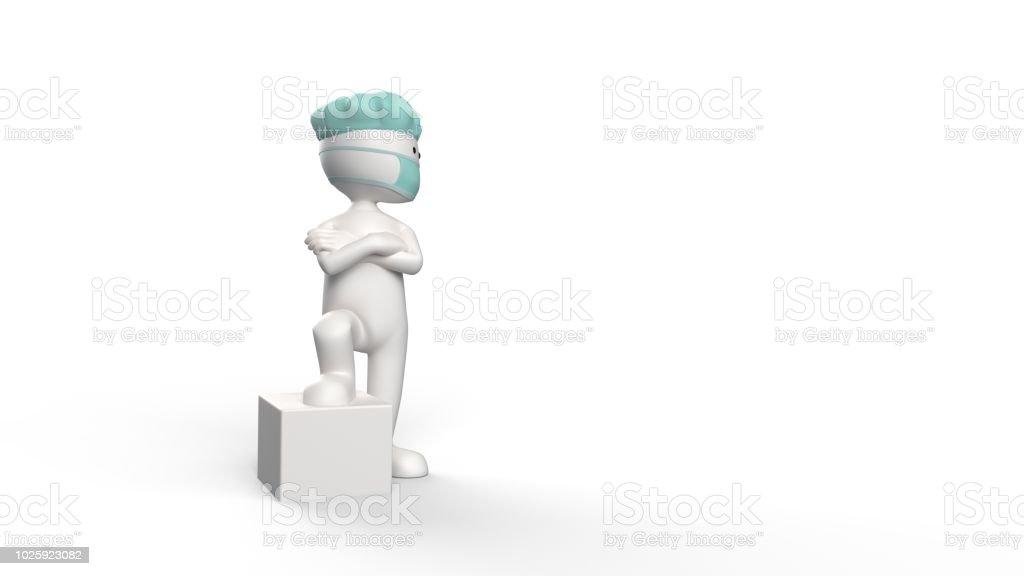 3D renderen van een witte stickman met chirurg dop foto