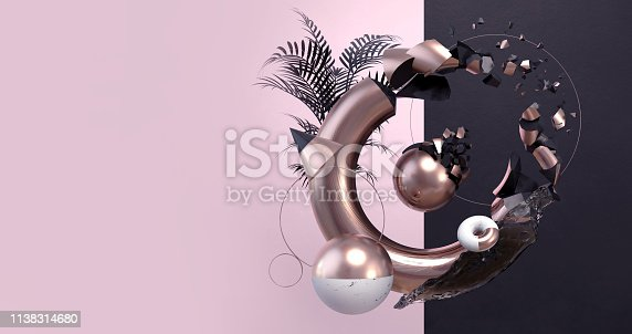 istock 3D Render of Abstract Geometric Background with Floating Primitive Shapes. Modern Minimalistic Studio Composition. Trendy Backdrop with Copy Space for Landing Page, Showcase, Product Presentation. 1138314680