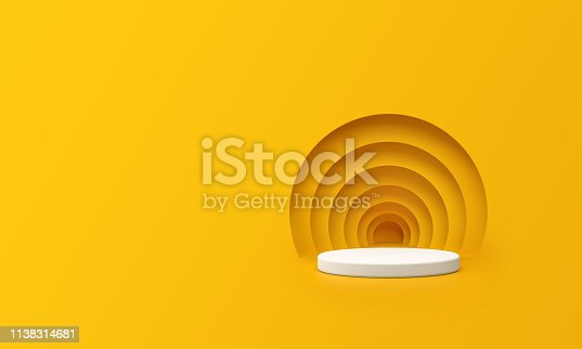 3D Render of Abstract Yellow Composition with Podium. Minimal Studio with Round Pedestal and Copy Space. Futuristic Interior Backdrop for Landing Page, Showcase, Product Presentation.