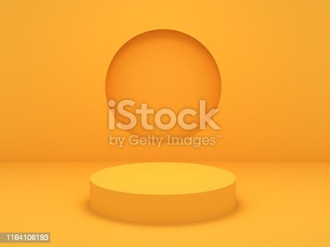istock 3D Render of Abstract Yellow Composition with Podium 1164106193