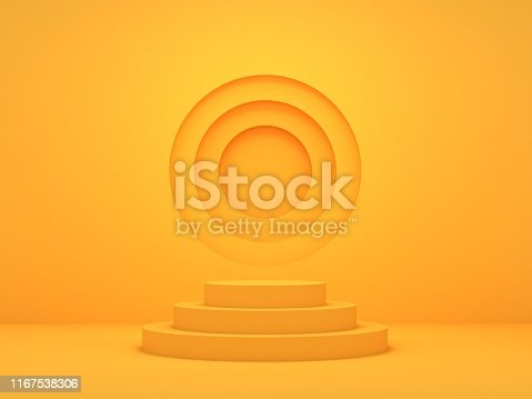 3D Render of Abstract Yellow Composition with Podium