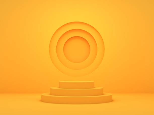 3d render of abstract yellow composition with podium - turno sportivo foto e immagini stock