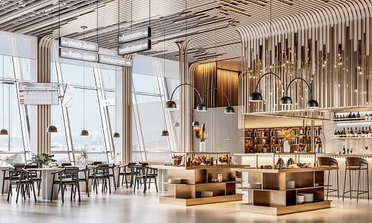 3d generated image of airport lounge interior. Luxurious interior of a VIP lounge area at international airport with cafe.