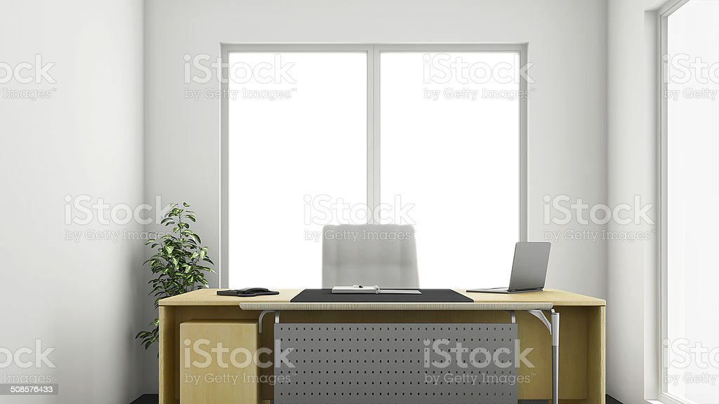 3D Render of an Office Interior with a Bright Window stock photo