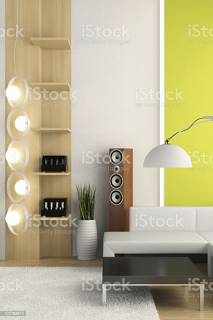 Render of apartment interior with modern fixtures royalty-free stock photo