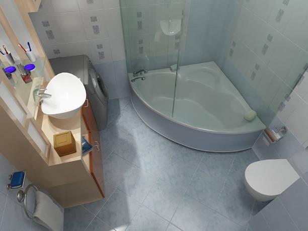 3d render des badezimmers - badewannenkissen stock-fotos und bilder