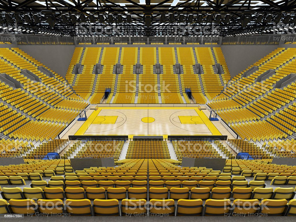 3D render of beautiful basketball arena with yellow seats stock photo