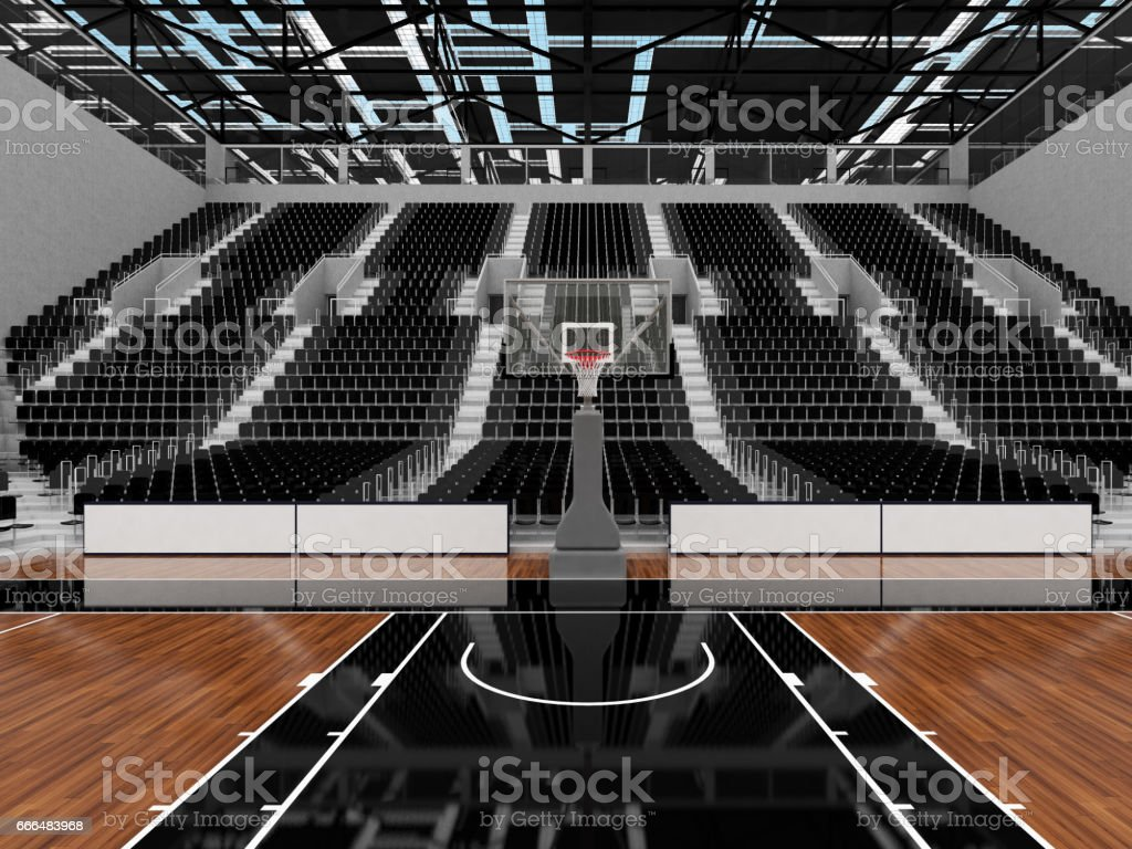 3D render of beautiful sports arena for basketball with floodlights and black seats and VIP boxes stock photo
