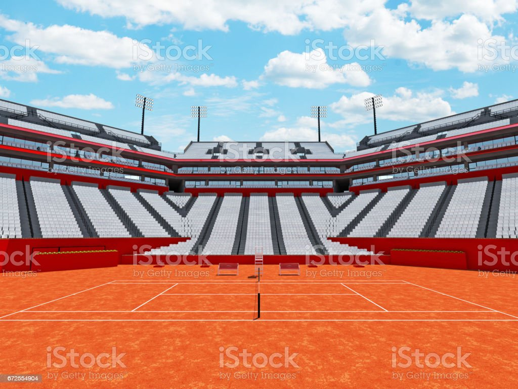 3D Render Of Beutiful Modern Tennis Clay Court Stadium With White Chairs  Royalty Free Stock