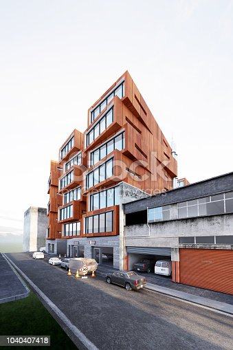 585292106 istock photo 3D render of building exterior 1040407418