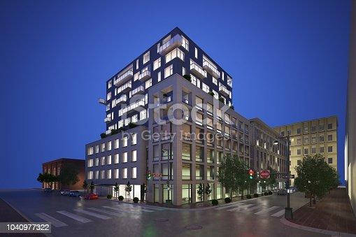 585292106 istock photo 3D render of building exterior 1040977322