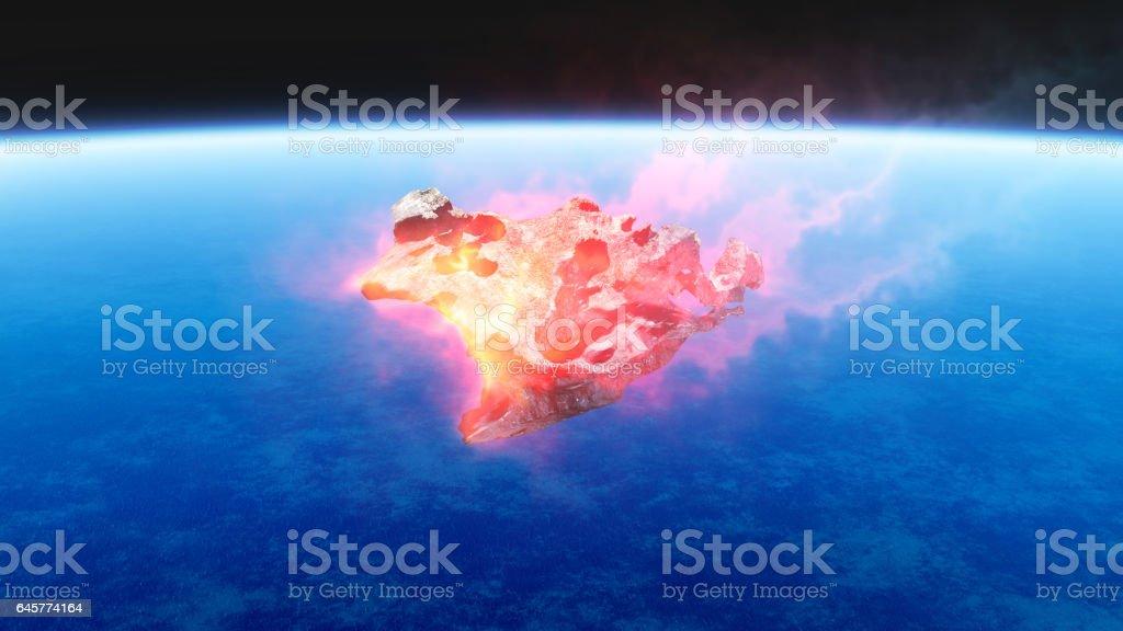 3D render de la quema de rojo fuego meteorito cayendo a la tierra - Foto de stock de Ambiente libre de derechos
