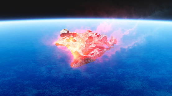 3d Render De La Quema De Rojo Fuego Meteorito Cayendo A La Tierra Foto de stock y más banco de imágenes de Ambiente