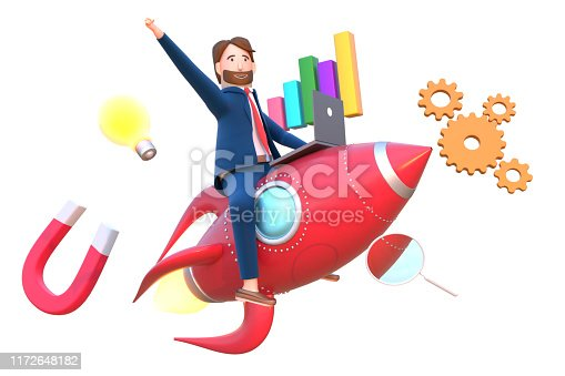 istock 3D render of businessman working in laptop flies rocket with business elements such as magnet, bar graph, magnifying glass and light bulb. 1172648182