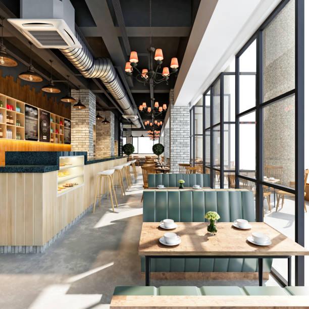 3d render cafeteria und restaurant - kaffee shop stock-fotos und bilder