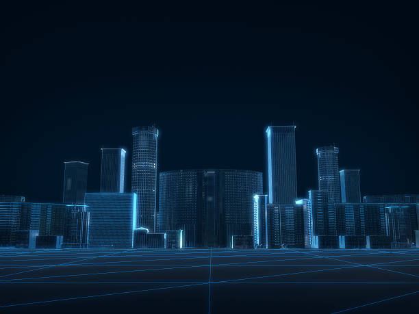 3D render of city x-ray blue transparent on dark background. - Photo