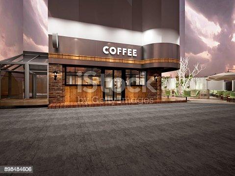 585292106 istock photo 3D render of coffee shop 898484606