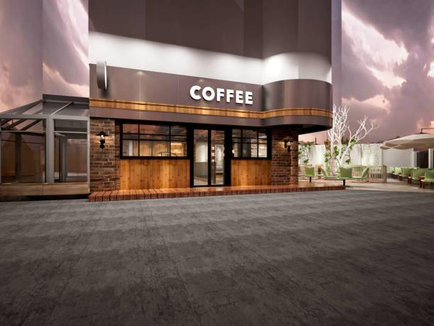 3d render de café - facade shop 3d - fotografias e filmes do acervo
