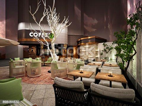 585292106 istock photo 3D render of coffee shop 898484630