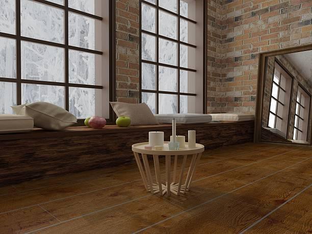 render von kaffee-tisch mit kerzen, romantische in modernem, dachboden - kleiner couchtisch stock-fotos und bilder