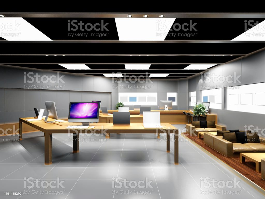 3d Render Of Computer Shop Stock Photo Download Image Now Istock