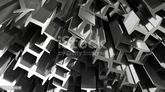 render of 3d construction metal beams