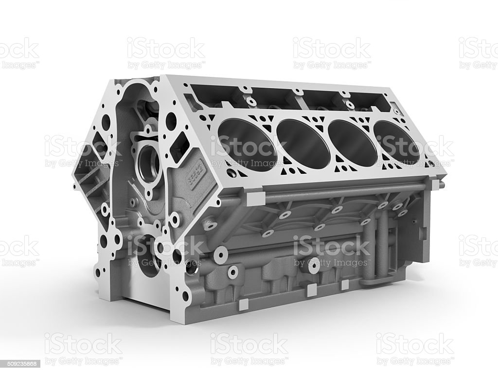 render of cylinder block from strong car with V8 engine stock photo