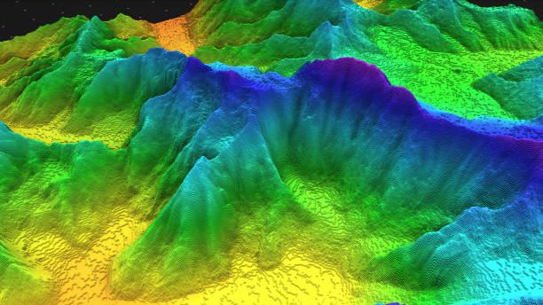 render 3d geologii, kawałek gleby, góry odizolowane na ciemnym tle. - geologia zdjęcia i obrazy z banku zdjęć