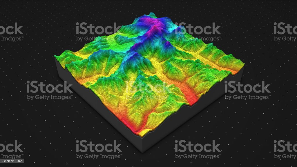 3D render of geology, soil slice, mountains isolated on dark background. stock photo