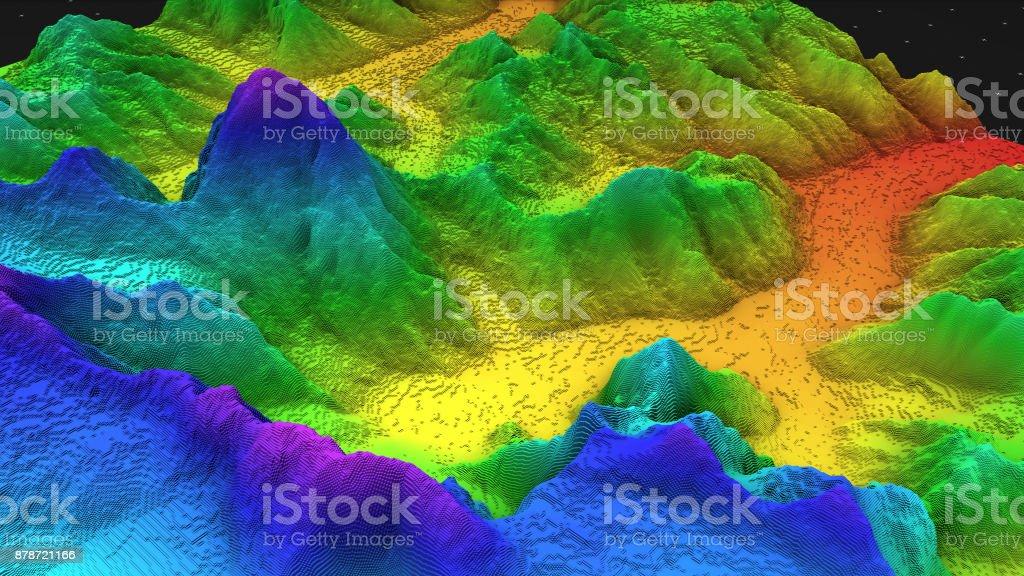 3D render de la geología, rebanada de suelo, las montañas aisladas sobre fondo oscuro. foto de stock libre de derechos